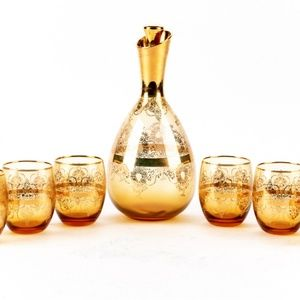 Gilt Decanter and  Six Glass Set